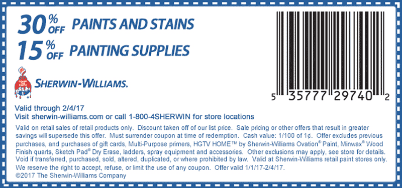 SherwinWilliams.com Promo Coupon 30% off paints & stains at Sherwin Williams