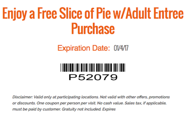 VillageInn.com Promo Coupon Free pie with your entree today at Village Inn