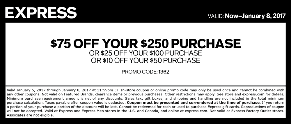 Express Coupon August 2018 $10 off $50 & more at Express, or online via promo code 1362