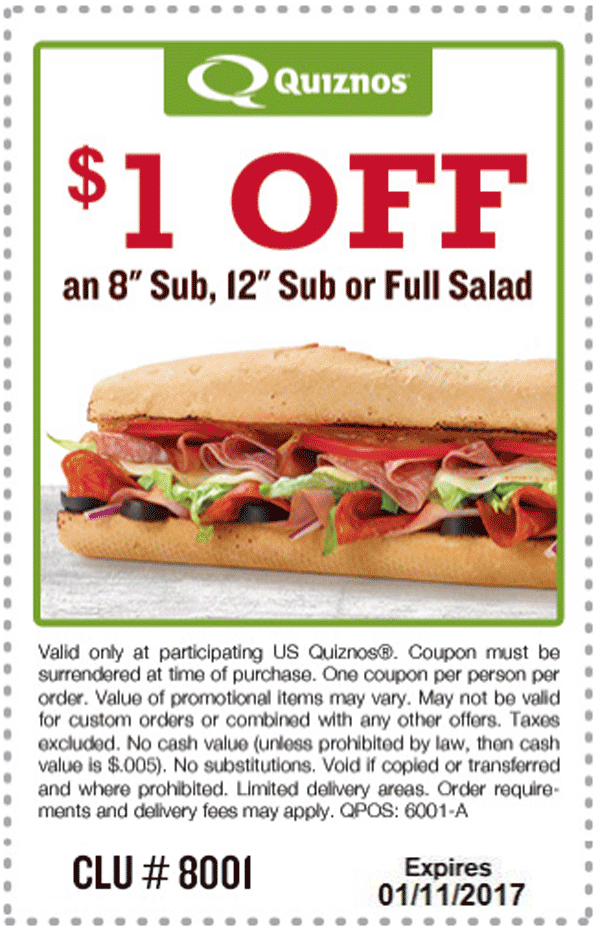 Quiznos.com Promo Coupon Shave a buck off your sub or salad at Quiznos