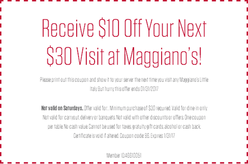 MaggianosLittleItaly.com Promo Coupon $10 off $30 at Maggianos Little Italy restaurants