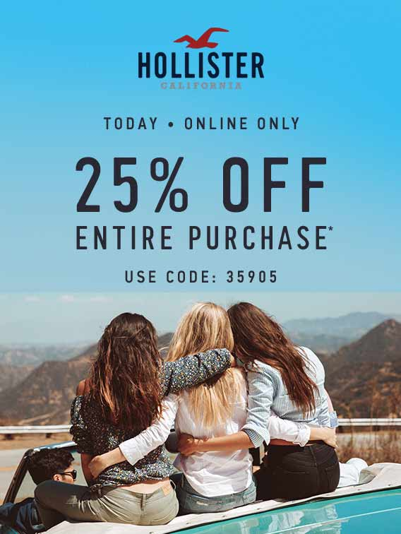 Hollister.com Promo Coupon 25% off online today at Hollister via promo code 35905