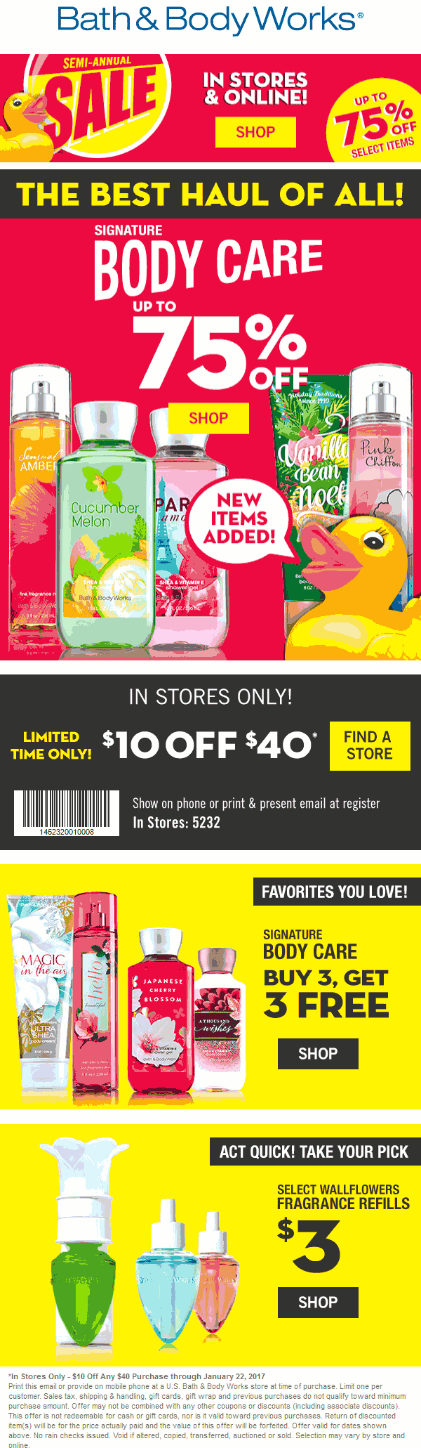 Bath&BodyWorks.com Promo Coupon $10 off $40 at Bath & Body Works