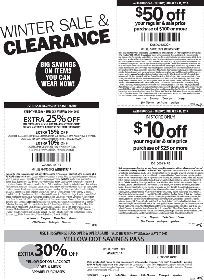 Choose from 6 Carson's coupons that include promo codes, free shipping deals and in-store printables for December Our top coupon is a 5% Off coupon code. Save on fashion apparel for the whole family, shoes, cosmetics, jewelry, bedding, furniture and a lot more when you use your Carson's p.