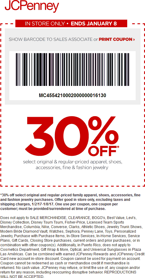 JCPenney Coupon August 2018 30% off apparel, shoes & accessories at JCPenney