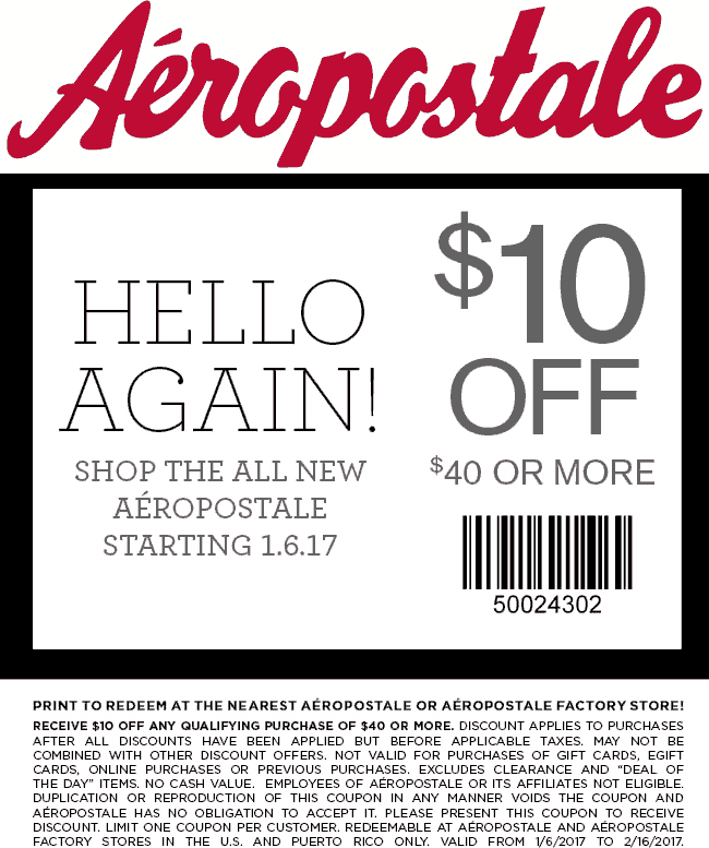 Aeropostale.com Promo Coupon $10 off $40 at Aeropostale