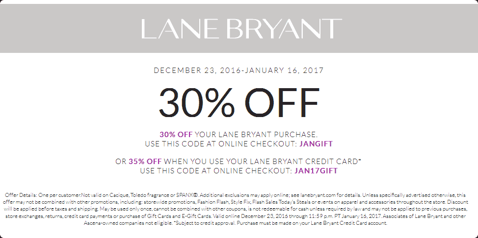 LaneBryant.com Promo Coupon 30% off at Lane Bryant, or online via promo code JANGIFT