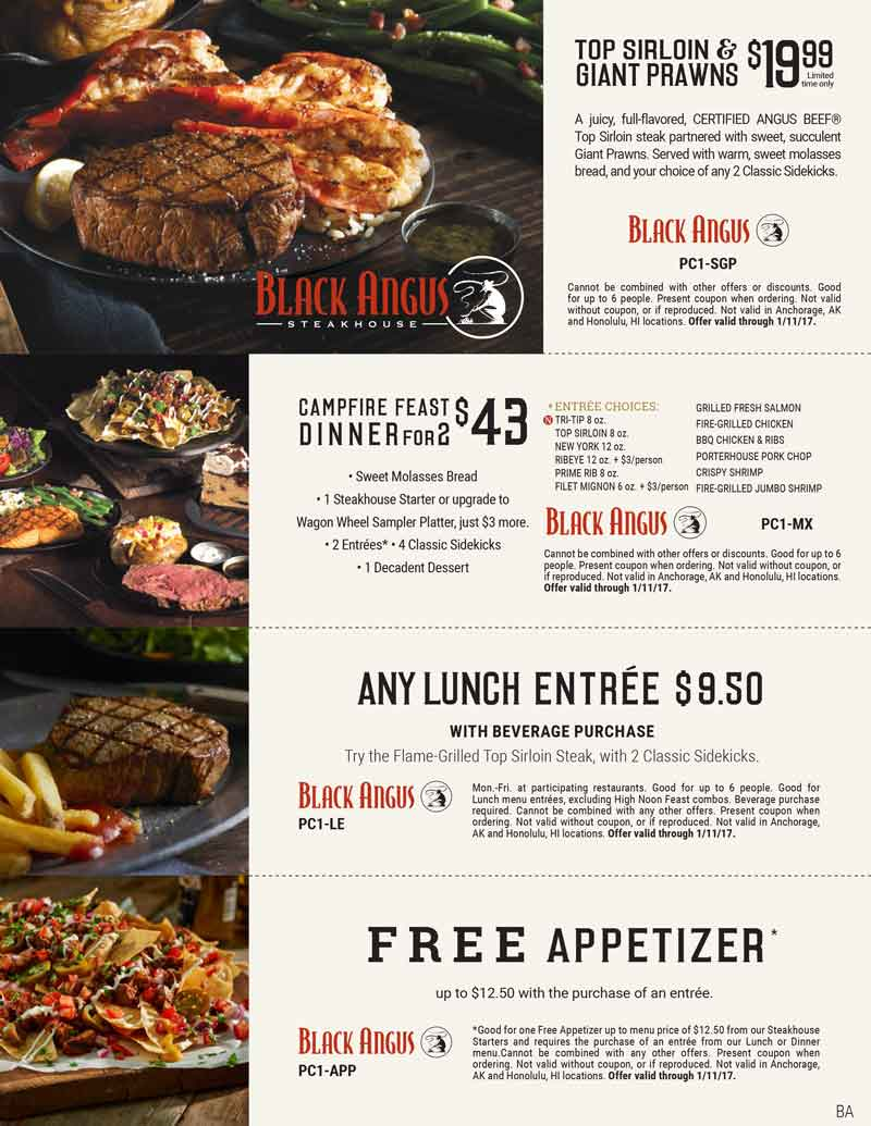 BlackAngus.com Promo Coupon Free appetizer with your entree at Black Angus steakhouse