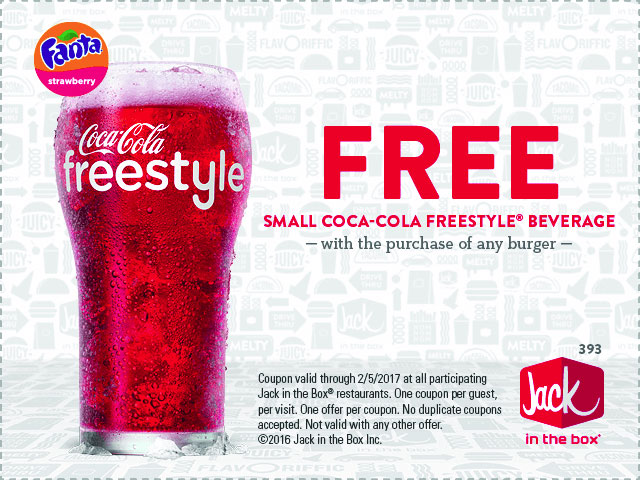 JackintheBox.com Promo Coupon Free drink with your burger at Jack in the Box