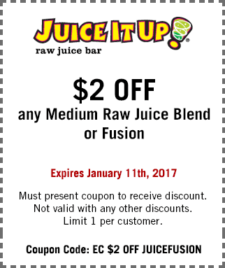 JuiceItUp.com Promo Coupon $2 off a juice or fusion at Juice It Up
