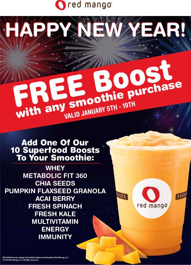 Red Mango Coupon October 2018 Free boost in your smoothie at Red Mango