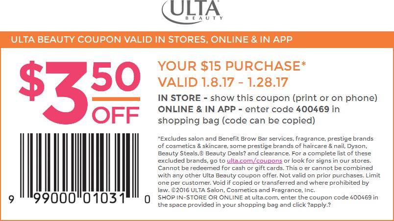 UltaBeauty.com Promo Coupon $3 off $15 at Ulta Beauty, or online via promo code 400469