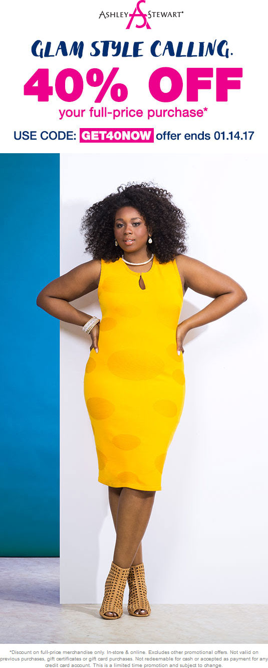 AshleyStewart.com Promo Coupon 40% off at Ashley Stewart, or online via promo code GET40NOW