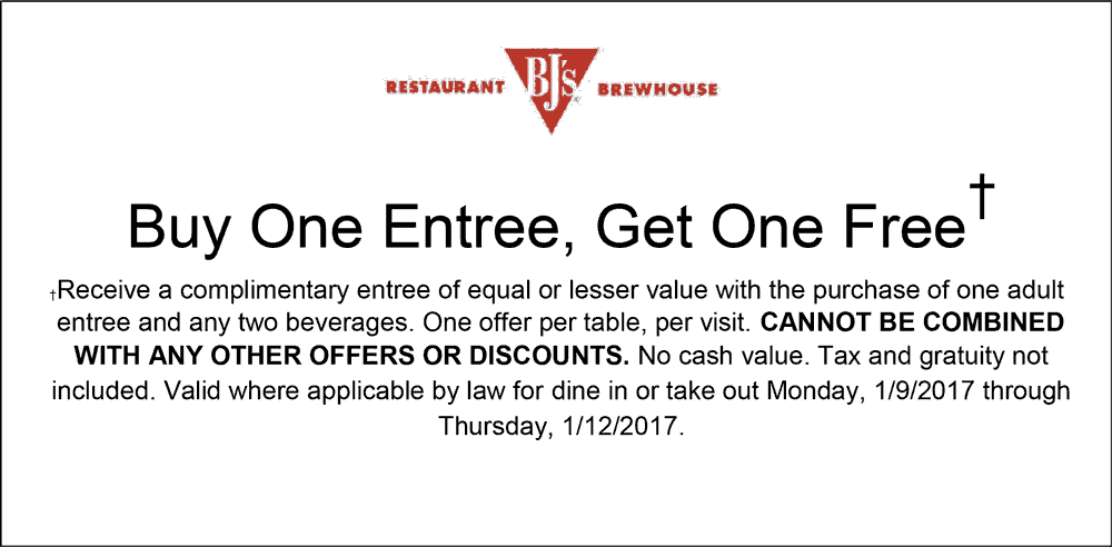 BJsRestaurant.com Promo Coupon Second entree free at BJs Restaurant