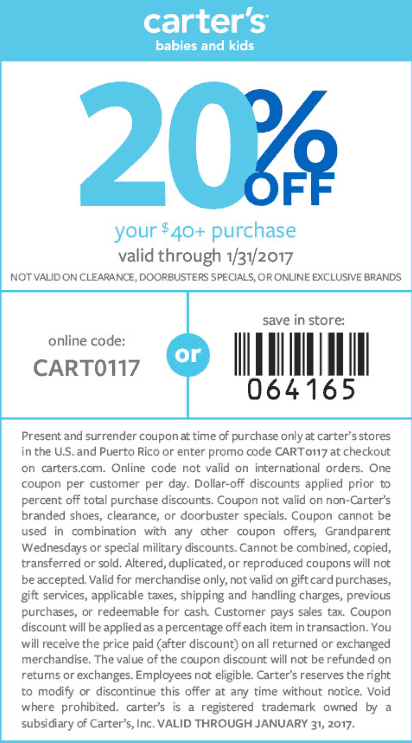 Carters.com Promo Coupon 20% off $40 at Carters, or online via promo code CART0117