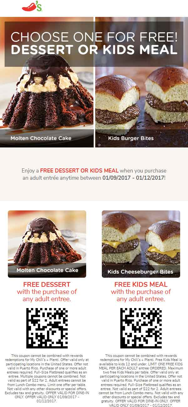 Chilis.com Promo Coupon Dessert or kids meal free with your entree at Chilis