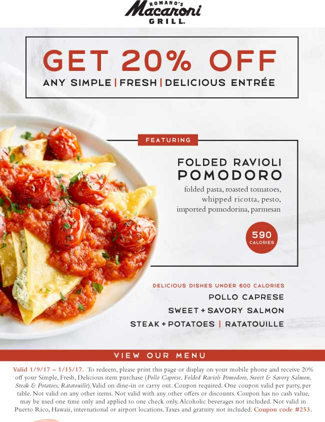 MacaroniGrill.com Promo Coupon 20% off an entree at Macaroni Grill