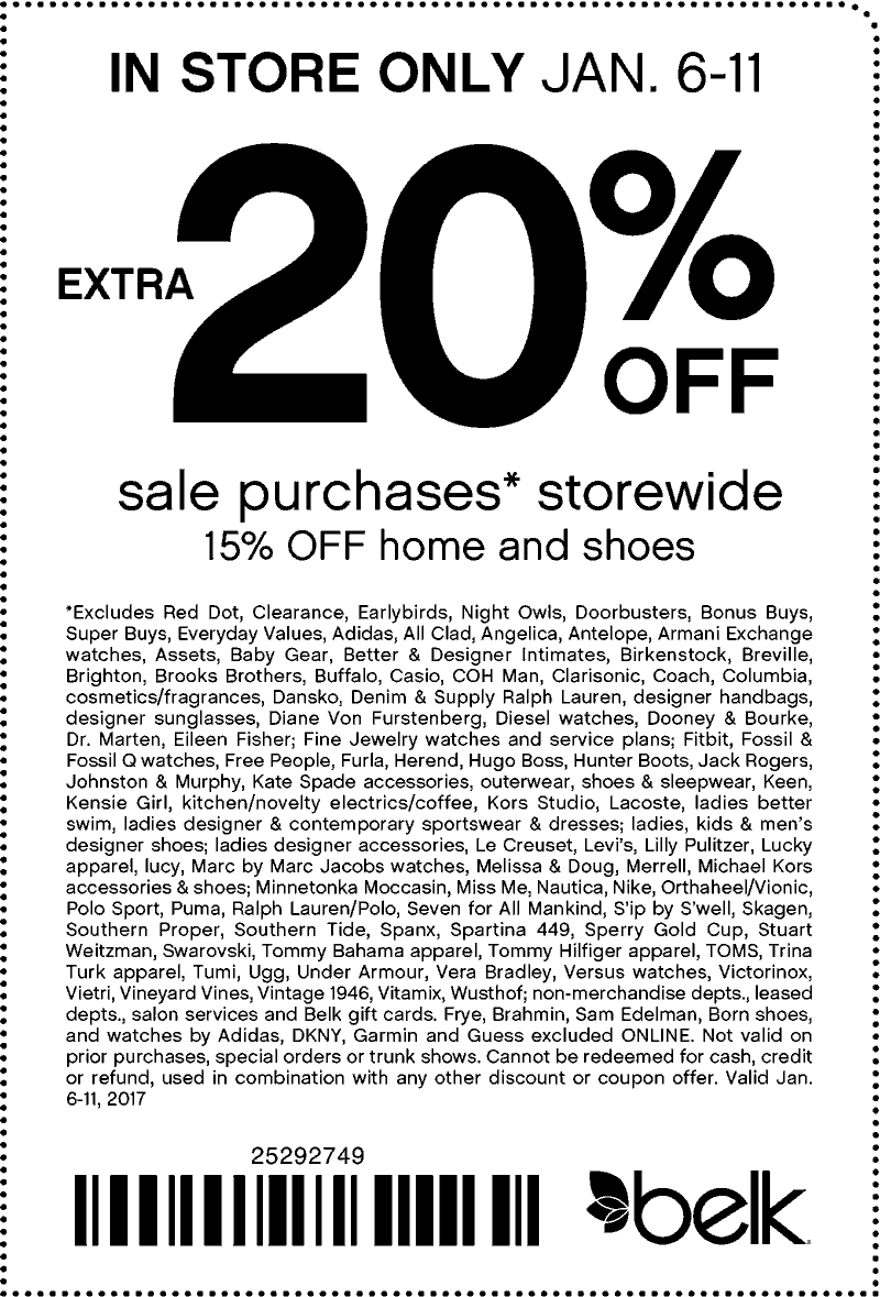 Belk.com Promo Coupon Extra 20% off sale items at Belk
