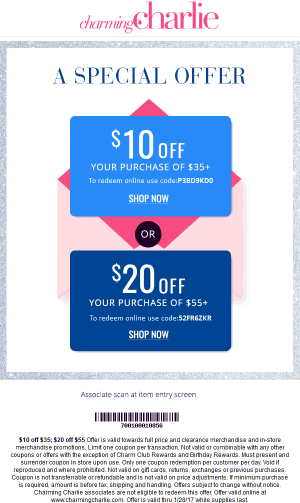 CharmingCharlie.com Promo Coupon $10 off $35 & more at Charming Charlie, or online via promo code P3BD9KD0