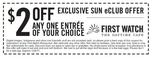 FirstWatch.com Promo Coupon $2 off an entree at First Watch cafe