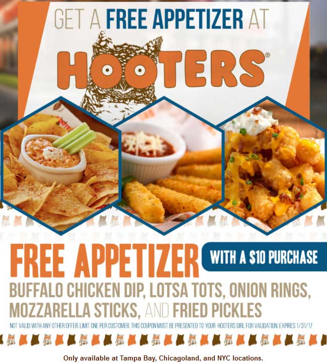 Hooters.com Promo Coupon Free appetizer with $10 spent at Chicago, NYC & Tampa Hooters