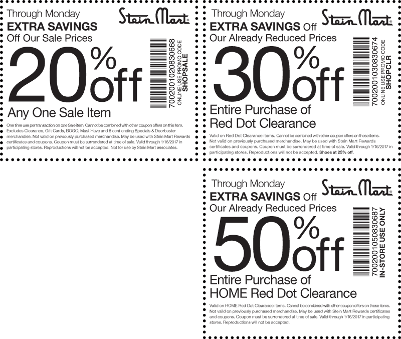 SteinMart.com Promo Coupon Extra 20% off a sale item & more at Stein Mart, or online via promo code SHOPSALE