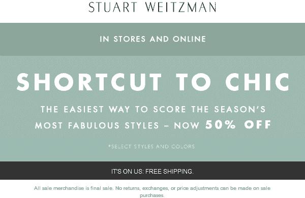 Stuart Weitzman Coupon October 2018 50% off sale items at Stuart Weitzman, ditto online