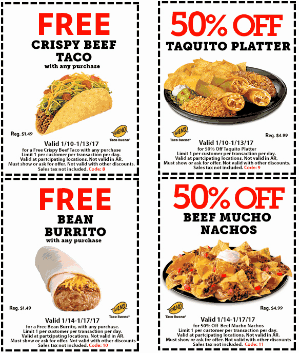TacoBueno.com Promo Coupon Free burrito or taco with any order at Taco Bueno restaurants