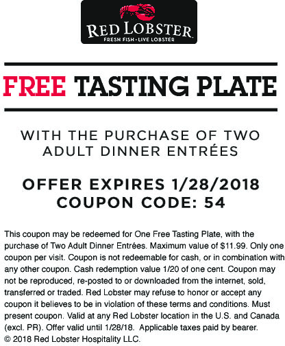 Red Lobster Coupon December 2018 Free tasting plate with your entrees at Red Lobster