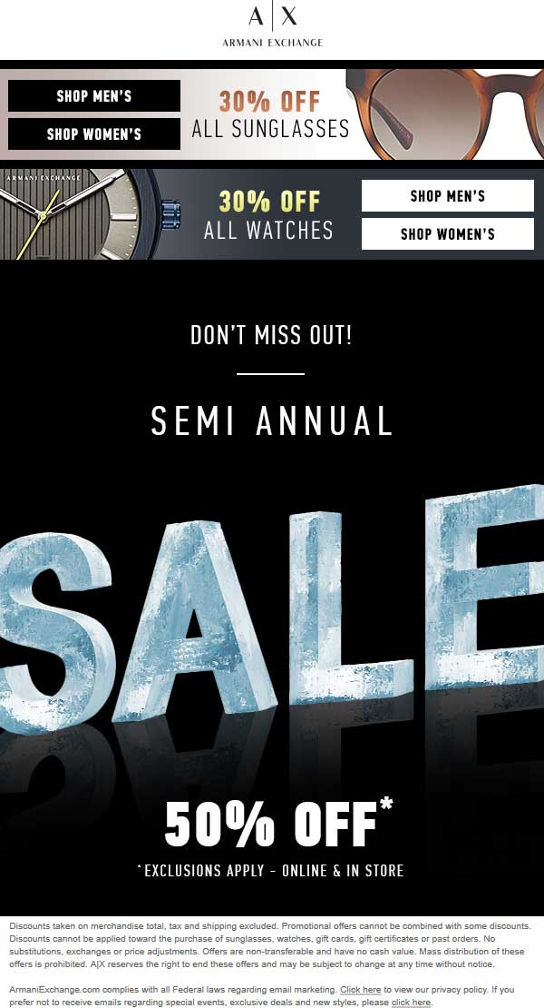 Armani Exchange Coupon April 2018 50% off sale going on at Armani Exchange, ditto online