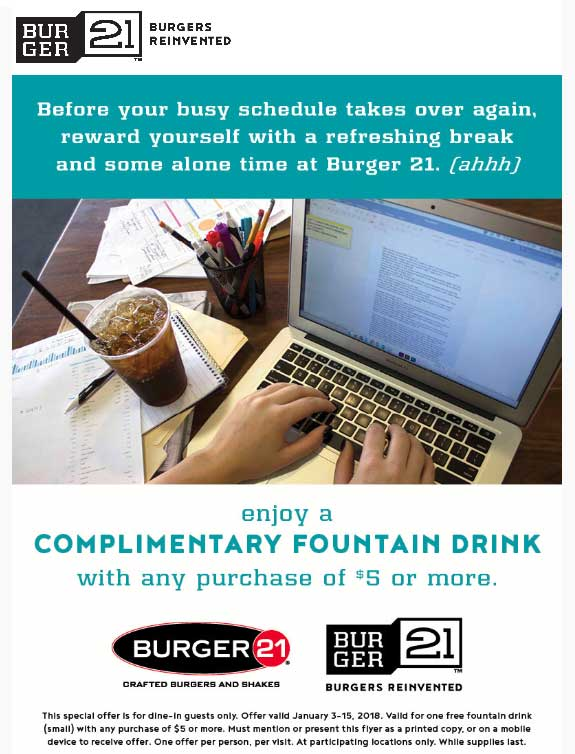 Burger 21 Coupon October 2018 Free drink with $5 spent at Burger 21 restaurants
