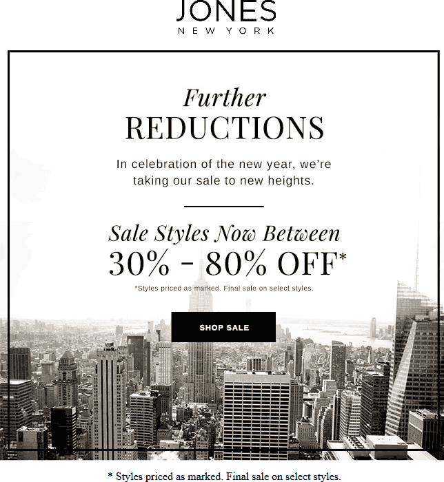 Jones New York Coupon November 2018 30-80% off sale styles at Jones New York, ditto online