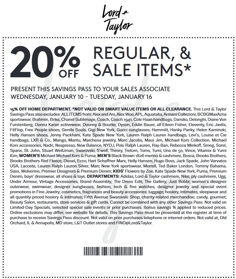 Lord&Taylor.com Promo Coupon Extra 20% off at Lord & Taylor, or online via promo code LTLOVE