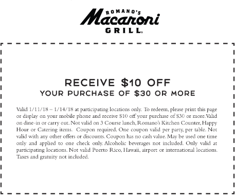 MacaroniGrill.com Promo Coupon $10 off $30 at Macaroni Grill restaurants