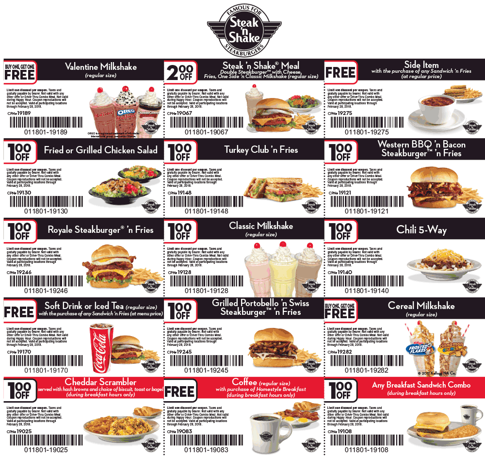 Steak n Shake Coupon April 2018 $2 off a meal, free side & more at Steak N Shake