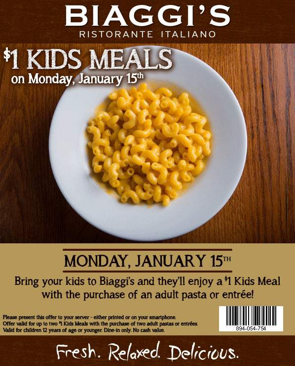 Biaggis Coupon March 2019 $1 kids meals with your entree Monday at Biaggis