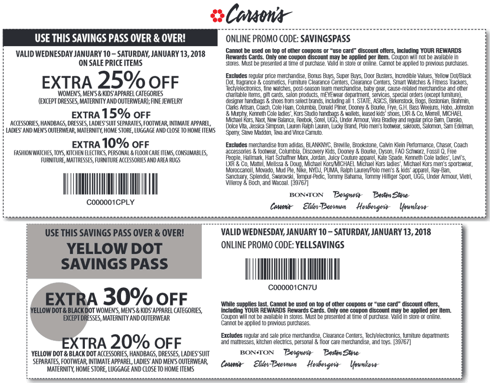 Carsons.com Promo Coupon Extra 25% off sale items today at Carsons, or online via promo code SAVINGSPASS