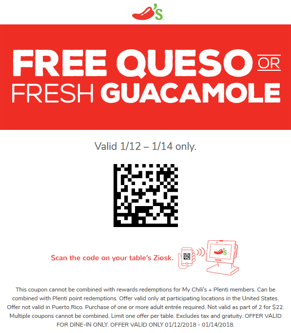 Chilis.com Promo Coupon Free queso or guacamole at Chilis restaurants