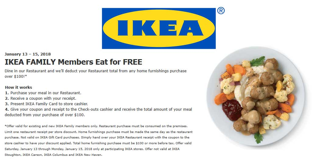 IKEA Coupon October 2018 Spend $100 eat free at IKEA