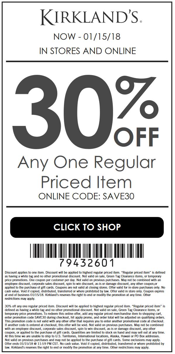 Kirklands.com Promo Coupon 30% off a single item at Kirklands, or online via promo code SAVE30