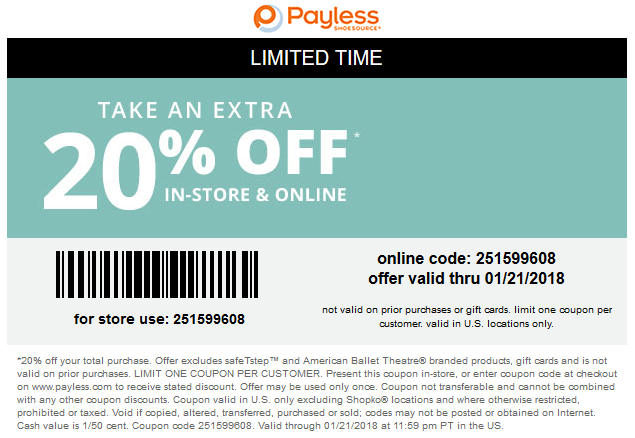 PaylessShoesource.com Promo Coupon Extra 20% off at Payless Shoesource, or online via promo code 251599608