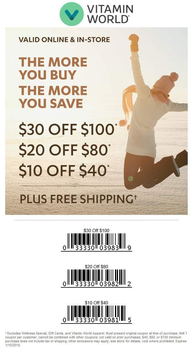 VitaminWorld.com Promo Coupon $10 off $40 & more at Vitamin World, or online via promo code VE01A5A
