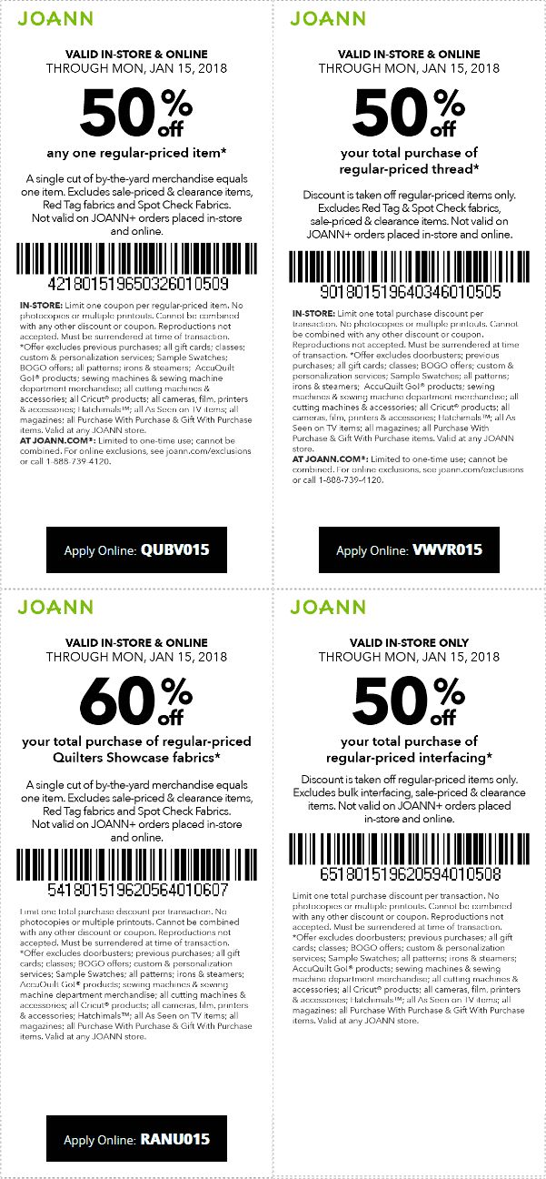 Jo-AnnFabric.com Promo Coupon 50% off a single item at Jo-Ann Fabric, or online via promo code QUBV015