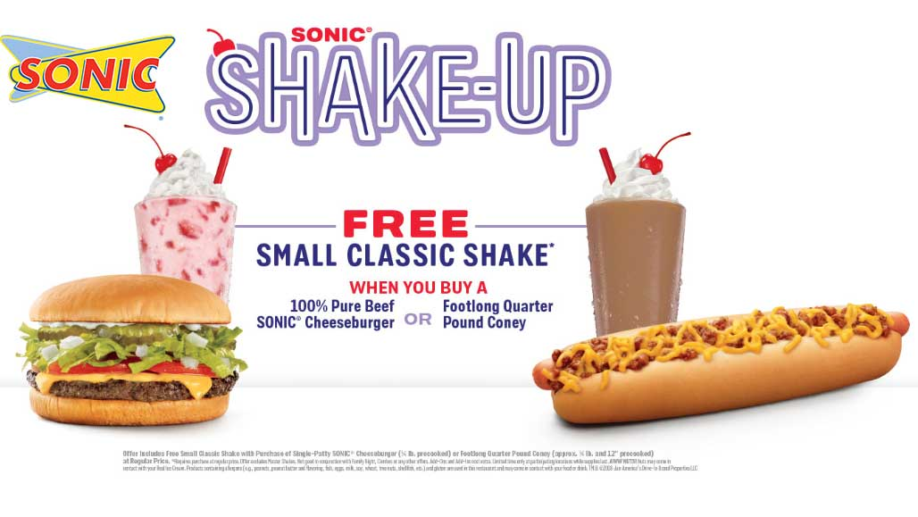 Sonic Drive-In Coupon November 2018 Free milkshake with your cheeseburger or coney dog at Sonic Drive-In