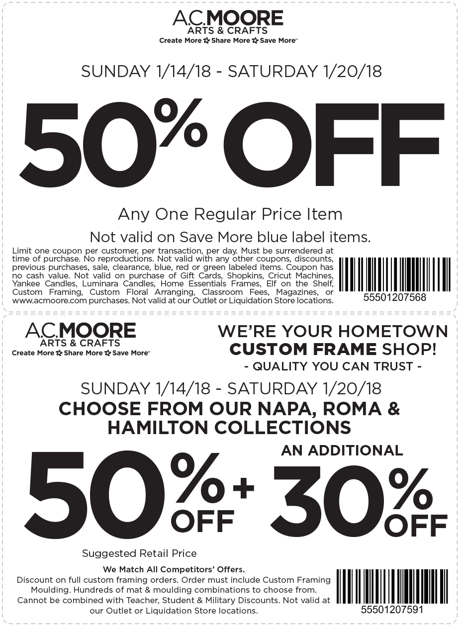 A.C. Moore Coupons - 50% off a single item at A.C. Moore
