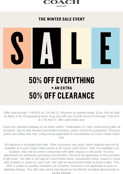 Coach Outlet Coupon August 2018 50% off everything today at COACH Outlet