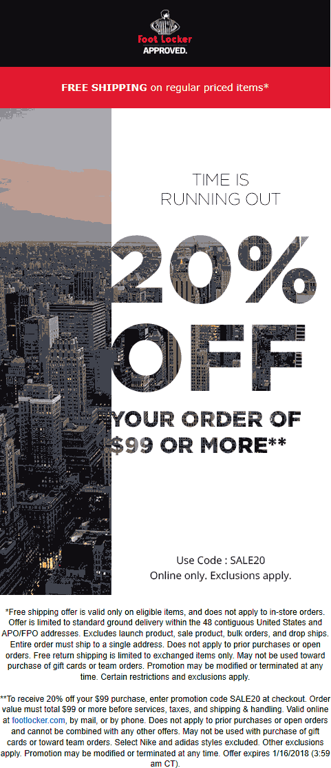 graphic regarding Foot Locker Printable Coupons identify Foot Locker Discount codes - 20% off $99 at present on line at Foot