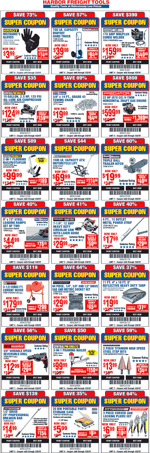 HarborFreightTools.com Promo Coupon Various coupons for Harbor Freight Tools