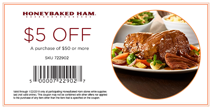 HoneyBaked.com Promo Coupon $5 off $50 at HoneyBaked Ham restaurants
