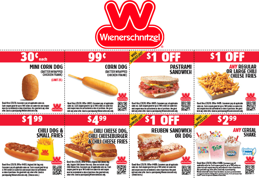 Wienerschnitzel.com Promo Coupon $2 chili dog + fries & more at Wienerschnitzel restaurants
